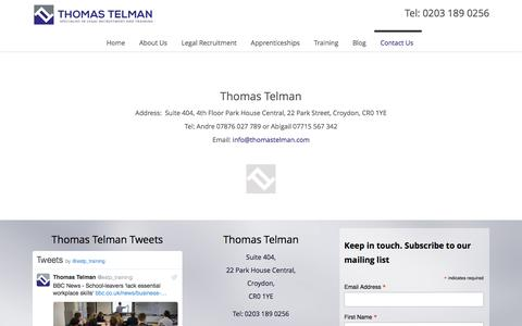 Screenshot of Contact Page thomastelman.com - Contact Thomas Telman Legal Recruitment - captured Dec. 23, 2016