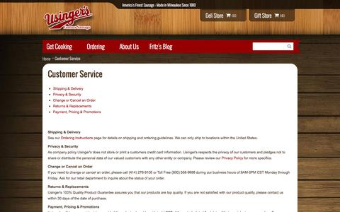Screenshot of Support Page usinger.com - Customer Service - captured Oct. 6, 2014