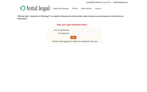 Screenshot of Login Page totallegal.com - TotalLegal | Login - captured Nov. 16, 2019