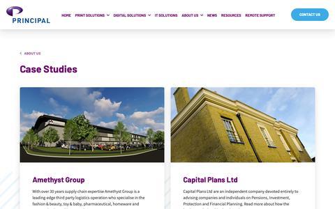 Screenshot of Case Studies Page principal.co.uk - Case Studies | Managed Services & Office Systems | Principal.co.uk - captured Sept. 29, 2018
