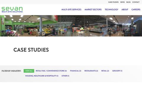 Screenshot of Case Studies Page sevansolutions.com - Case Studies | Sevan Multi-Site Solutions and Program Management - captured Aug. 1, 2018