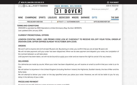 Screenshot of Terms Page 31dover.com - Terms and Conditions   31DOVER - captured Oct. 30, 2014