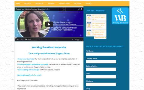 Screenshot of Home Page working-breakfast.com - Working Breakfast Networking Bristol - captured Oct. 9, 2014