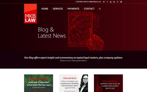 Screenshot of Blog mkblaw.co.uk - Blog and latest news - Leading Solicitors in Belfast - captured July 26, 2018