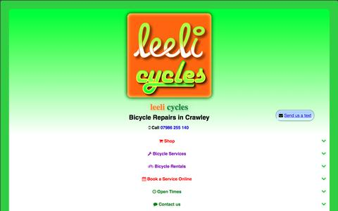 Screenshot of Home Page leeli.co.uk - leeli cycles - bicycle hire and bicycle repairs in crawley - captured Nov. 5, 2016
