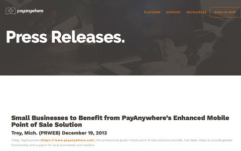 Screenshot of Press Page payanywhere.com - Small Businesses to Benefit from PayAnywhere's Enhanced Mobile Point of Sale Solution | PayAnywhere - captured Sept. 28, 2018