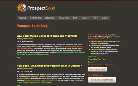 Screenshot of Blog prospectsolar.com - Prospect Solar Blog - captured Sept. 30, 2014