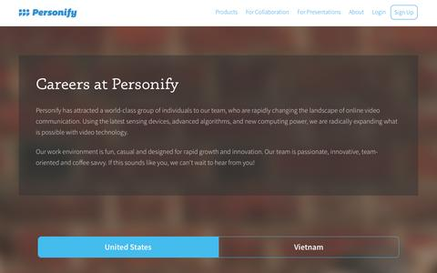 Screenshot of Jobs Page personify.com - Careers at Personify - captured Nov. 17, 2015