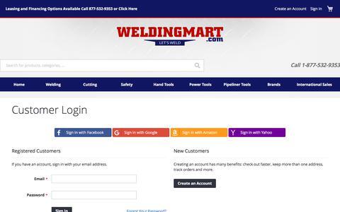 Screenshot of Login Page weldingmart.com - Customer Login | WeldingMart.com - captured Oct. 27, 2017
