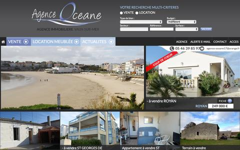 Screenshot of Home Page agence-oceane17.com - Immobilier VAUX SUR MER - Agence Immobiličre VAUX SUR MER - AGENCE OCEANE - captured Oct. 16, 2015