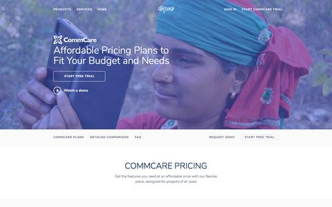 Screenshot of Pricing Page dimagi.com - CommCare Pricing - captured March 22, 2018