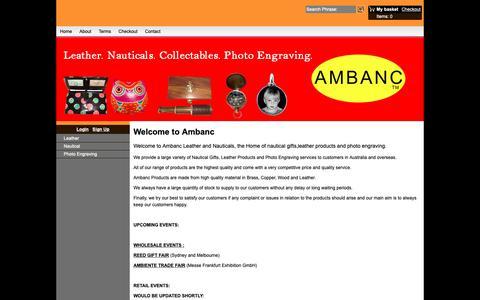 Screenshot of Home Page ambanc.com.au - Ambanc. Leather. Nauticals. Photo Engraving. - captured Oct. 3, 2018