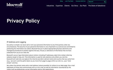 Screenshot of Privacy Page bluewolf.com - Privacy Policy - captured Sept. 24, 2017