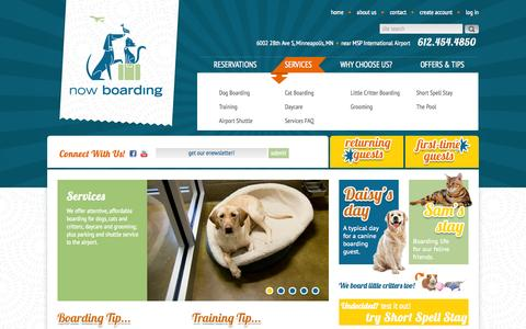 Screenshot of Services Page nowboardingpets.com - Services   Now Boarding Pets - captured Oct. 1, 2014