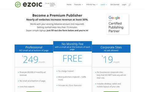 Screenshot of Pricing Page ezoic.com - Pricing | Ezoic - captured July 4, 2016