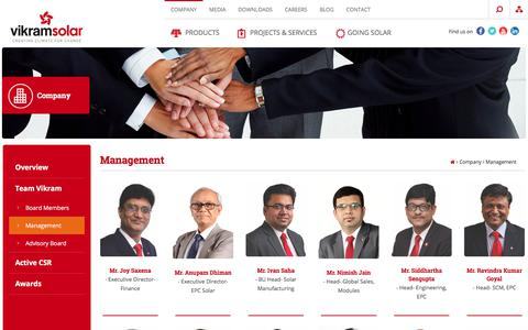 Screenshot of Team Page vikramsolar.com - Management | Vikram Solar - captured July 7, 2017