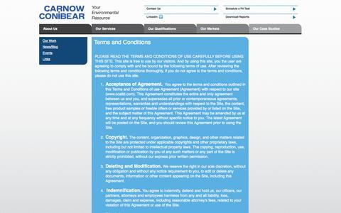Screenshot of Terms Page ccaltd.com - Carnow Conibear - captured Oct. 2, 2014