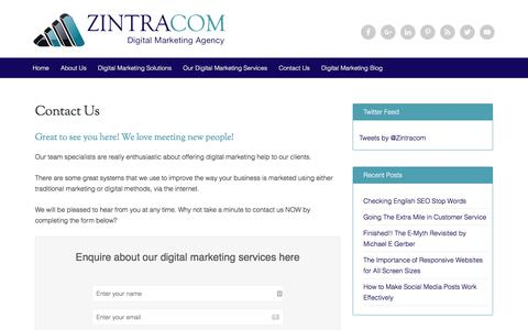 Screenshot of Contact Page zintracom.com - Ask Us About our Digital Marketing Help for Busy Managers - captured Oct. 21, 2019