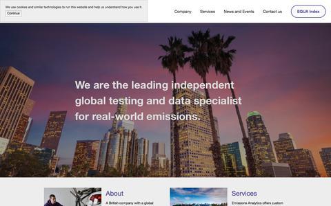 Screenshot of Home Page emissionsanalytics.com - Emissions Analytics - captured July 18, 2018