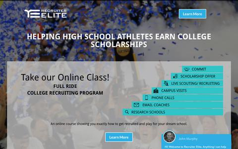 Screenshot of Home Page recruiterelite.com - Helping high school athletes get college scholarships. College golf recruiting advice and services to be scouted by college coaches and earn scholarships. - captured Oct. 20, 2017
