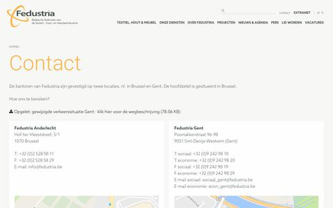 Screenshot of Contact Page fedustria.be - Contact | Fedustria - captured June 6, 2017