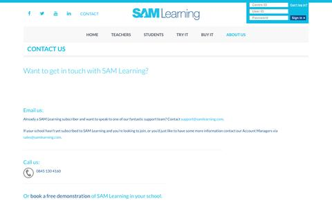 Contact Us | SAM Learning