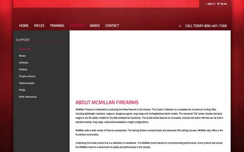 Screenshot of About Page Support Page mcmillanfirearms.com - About McMillan FirearmsMcMillan Firearms - captured March 12, 2016