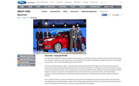 Screenshot of About Page ford.com - About Ford | Ford India - captured Sept. 18, 2014