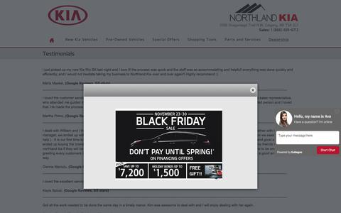 Screenshot of Testimonials Page northlandkia.ca - Northland Kia | New Kia dealership in Calgary, AB T3A 2L7 - captured Nov. 30, 2016