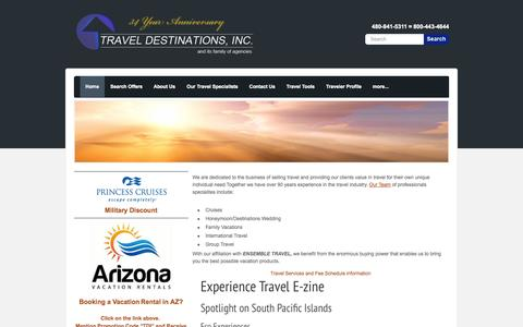 Screenshot of Home Page Privacy Page Terms Page traveldestinationsinc.com - Travel Destinations Inc. - Home - captured Oct. 7, 2014