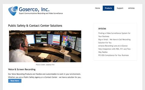 Screenshot of Products Page goserco.com - Public Safety & Contact Center Solutions – Goserco, Inc. - captured Sept. 19, 2016
