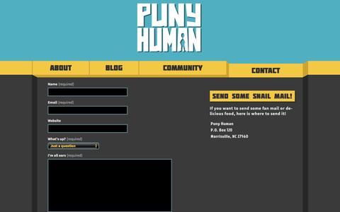 Screenshot of Contact Page punyhumangames.com - Contact | - captured Feb. 1, 2016