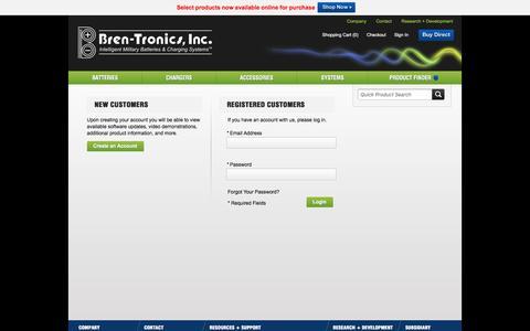 Screenshot of Login Page bren-tronics.com - Customer Login - captured Nov. 23, 2016