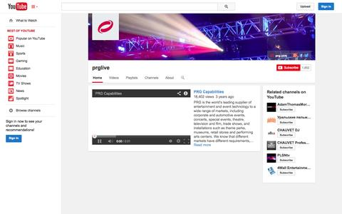 Screenshot of YouTube Page youtube.com - prglive  - YouTube - captured Oct. 22, 2014