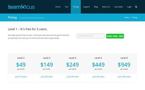 Screenshot of Pricing Page teamfocus.me - Pricing - teamfocus | project team management | web-based task management - captured Nov. 29, 2016