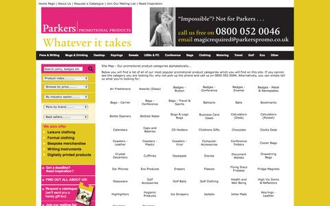 Screenshot of Site Map Page parkerspromo.co.uk - Promotional Product Supplier | Parkers Promotional Products - captured Oct. 7, 2014