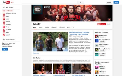 Screenshot of YouTube Page youtube.com - SpikeTV  - YouTube - captured Oct. 23, 2014
