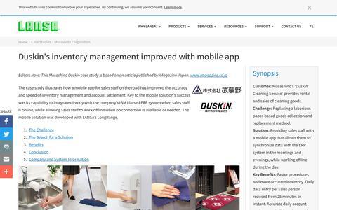 Screenshot of Case Studies Page lansa.com - Mobile App Improves Duskin's Inventory Management   LANSA - captured Feb. 5, 2018