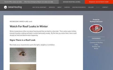 Screenshot of Blog detailroof.ca - Blog - Detail Roofing - captured March 26, 2016