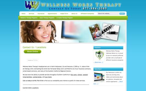 Screenshot of Contact Page wellnessworkstherapy.com - Contact Us / Locations — Wellness Works Therapy - captured Oct. 1, 2014
