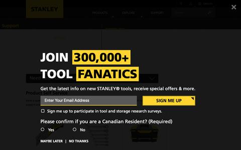 Screenshot of Support Page stanleytools.com - STANLEY Customer Support | STANLEY Tools - captured Oct. 21, 2018