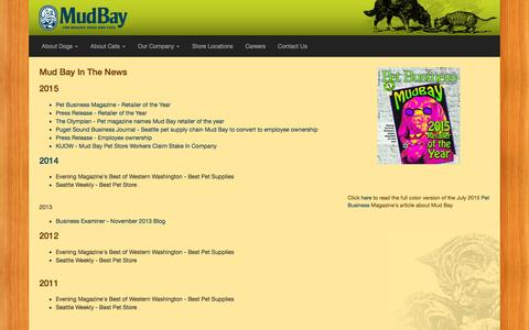Screenshot of Press Page mudbay.com - In The News - Mud Bay | Natural Dog & Cat Foods | Pet Supply Stores | Seattle, Bellevue, Tacoma, Portland - for Healthy Dogs and Cats - Mud Bay for Healthy Dogs and Cats - captured Dec. 4, 2015