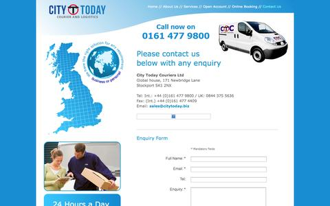 Screenshot of Contact Page citytoday.biz - City Today Couriers | Manchester Couriers | Nationwide Delivery | International Delivery | Same Day Delivery | Next Day Delivery - captured Oct. 2, 2014