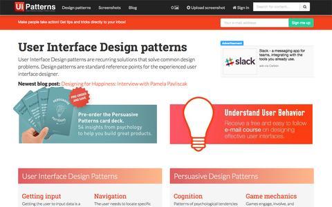 Screenshot of Home Page ui-patterns.com - UI-Patterns.com - captured Nov. 5, 2015