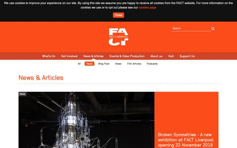 Screenshot of Press Page fact.co.uk - News & Articles - FACT (Foundation for Art and Creative Technology) - captured Nov. 6, 2018