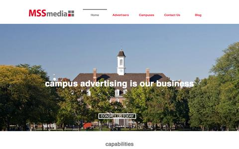 Screenshot of Home Page mssmedia.com - Campus Advertising is Our Business - captured Sept. 12, 2015
