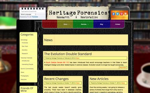 Screenshot of Press Page heritageforensics.com - News - captured Dec. 9, 2015