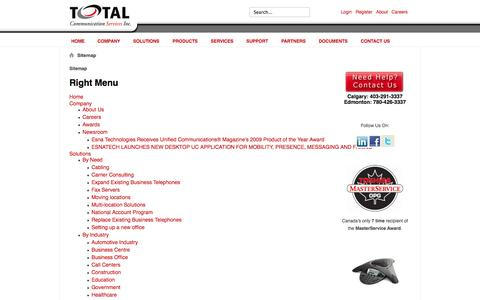Screenshot of Site Map Page totalcomm.ca - Sitemap - captured Oct. 7, 2014