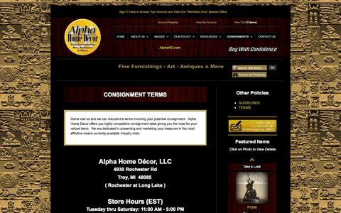 Screenshot of Terms Page alphahd.com - Elegant | Unique | Home Furnishings & Decor | Consignments | Resale - captured Oct. 4, 2014