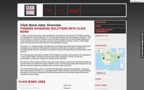 Screenshot of Jobs Page clickbond.com - Careers - Click Bond | Carson City, NV - captured July 19, 2018